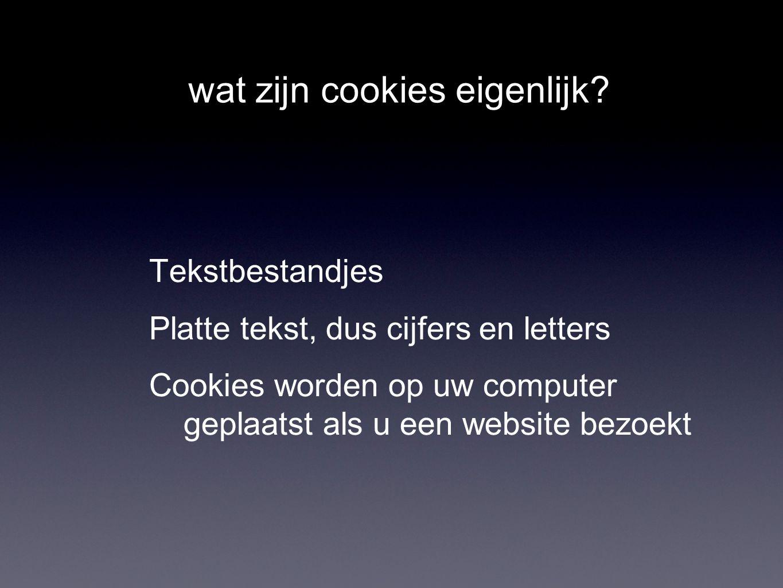 wat zijn cookies eigenlijk? Tekstbestandjes Platte tekst, dus cijfers en letters Cookies worden op uw computer geplaatst als u een website bezoekt