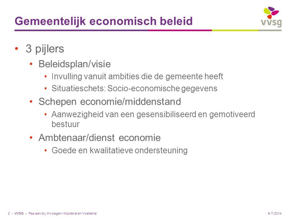 VVSG - Kenmerken gemeentelijk economisch beleid •Groeiend ondernemersbewustzijn bij gemeenten •Horizontaal beleidsdomein: alleen lukt het niet.