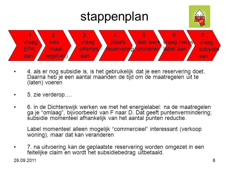 stappenplan •4. als er nog subsidie is, is het gebruikelijk dat je een reservering doet.