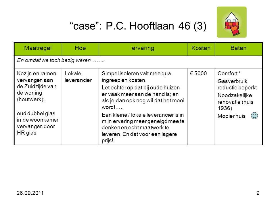 case : P.C. Hooftlaan 46 (3) MaatregelHoeervaringKostenBaten En omdat we toch bezig waren……..