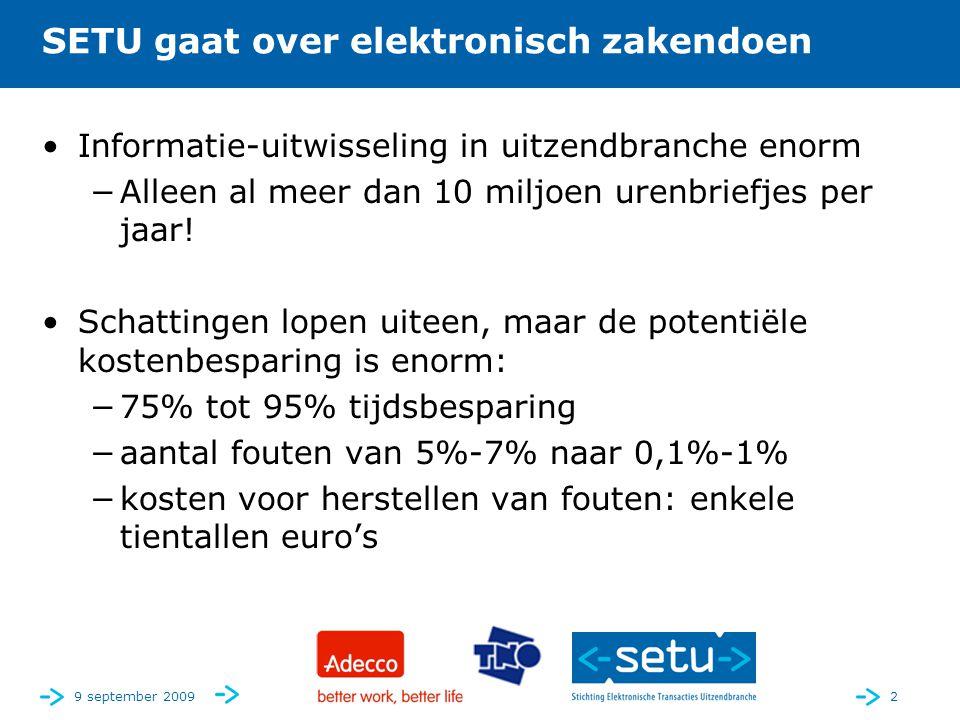 2 SETU gaat over elektronisch zakendoen •Informatie-uitwisseling in uitzendbranche enorm −Alleen al meer dan 10 miljoen urenbriefjes per jaar.
