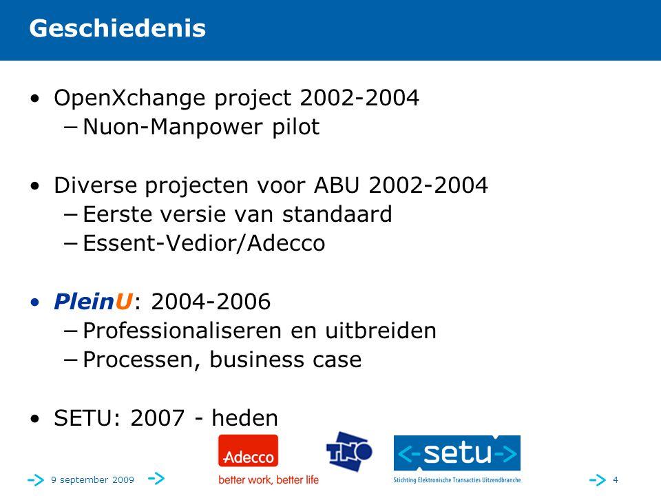 9 september 20094 Geschiedenis •OpenXchange project 2002-2004 −Nuon-Manpower pilot •Diverse projecten voor ABU 2002-2004 −Eerste versie van standaard −Essent-Vedior/Adecco •PleinU: 2004-2006 −Professionaliseren en uitbreiden −Processen, business case •SETU: 2007 - heden