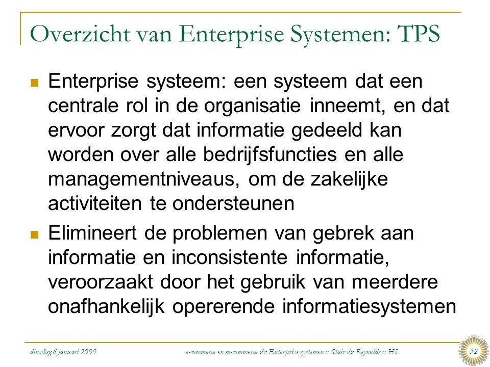 dinsdag 6 januari 2009 e-commerce en m-commerce & Enterprise systemen :: Stair & Reynolds :: H5 32 Overzicht van Enterprise Systemen: TPS  Enterprise