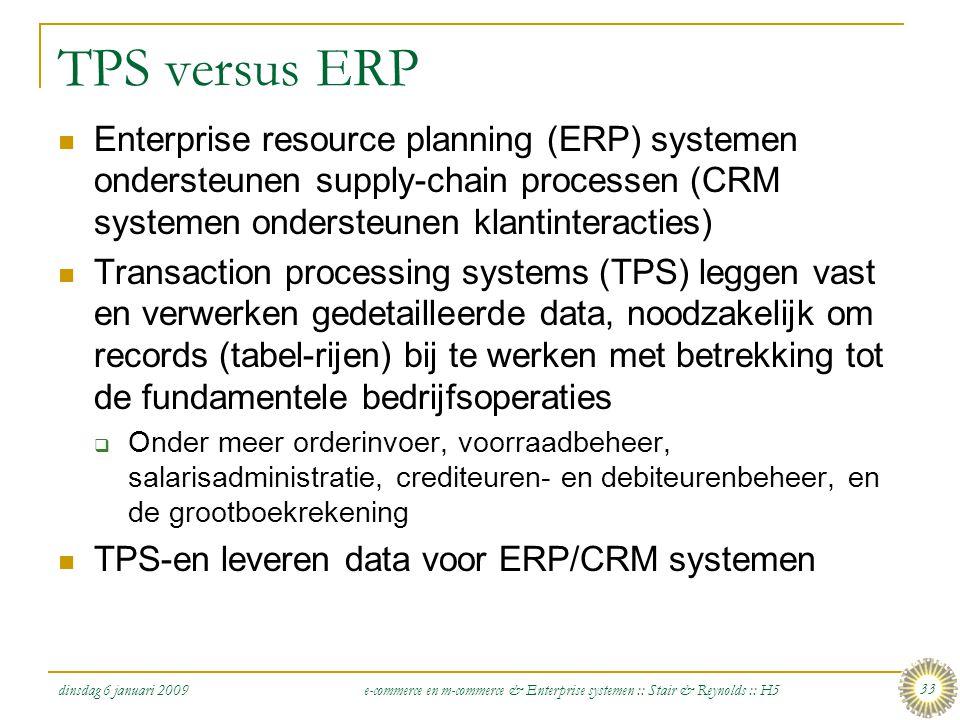 dinsdag 6 januari 2009 e-commerce en m-commerce & Enterprise systemen :: Stair & Reynolds :: H5 33 TPS versus ERP  Enterprise resource planning (ERP)