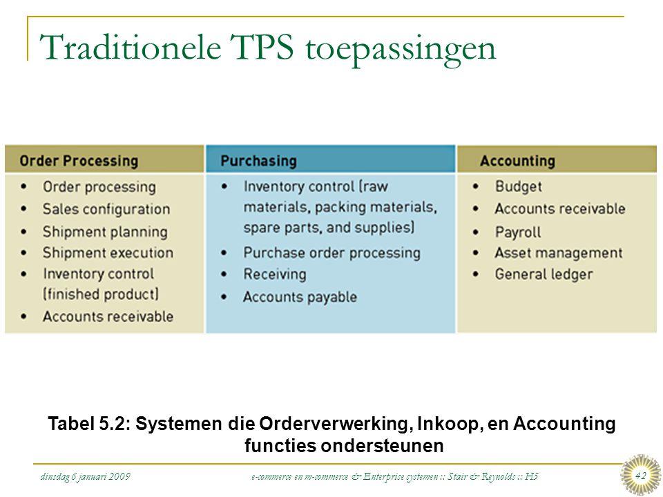 dinsdag 6 januari 2009 e-commerce en m-commerce & Enterprise systemen :: Stair & Reynolds :: H5 42 Traditionele TPS toepassingen Tabel 5.2: Systemen d