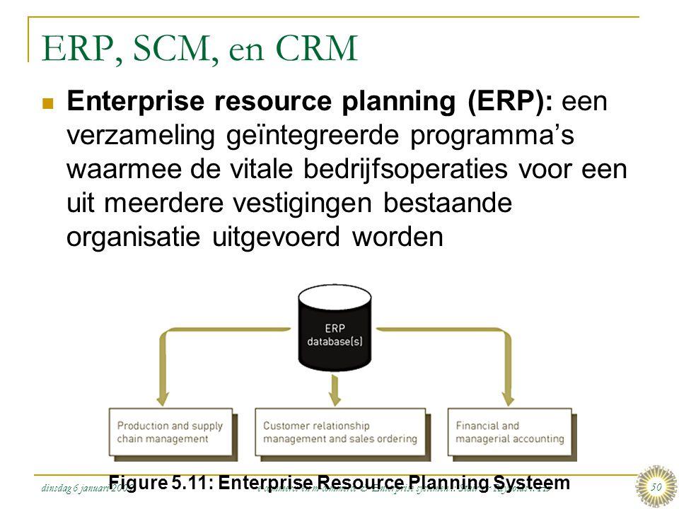 dinsdag 6 januari 2009 e-commerce en m-commerce & Enterprise systemen :: Stair & Reynolds :: H5 50 ERP, SCM, en CRM  Enterprise resource planning (ER