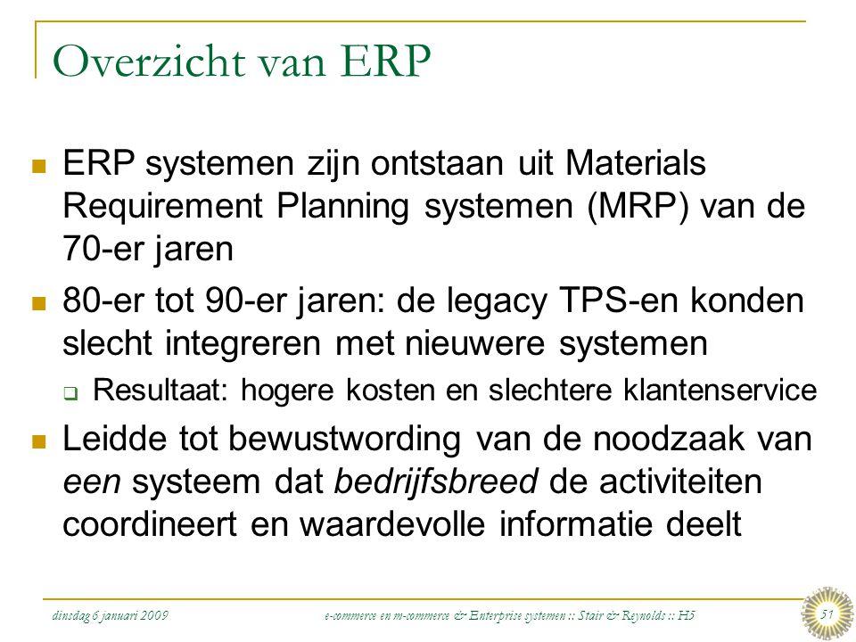 dinsdag 6 januari 2009 e-commerce en m-commerce & Enterprise systemen :: Stair & Reynolds :: H5 51 Overzicht van ERP  ERP systemen zijn ontstaan uit