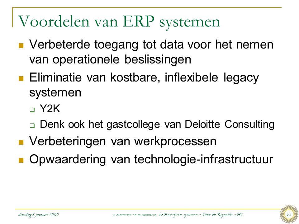 dinsdag 6 januari 2009 e-commerce en m-commerce & Enterprise systemen :: Stair & Reynolds :: H5 53 Voordelen van ERP systemen  Verbeterde toegang tot