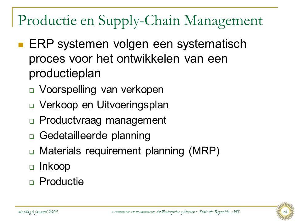 dinsdag 6 januari 2009 e-commerce en m-commerce & Enterprise systemen :: Stair & Reynolds :: H5 56 Productie en Supply-Chain Management  ERP systemen