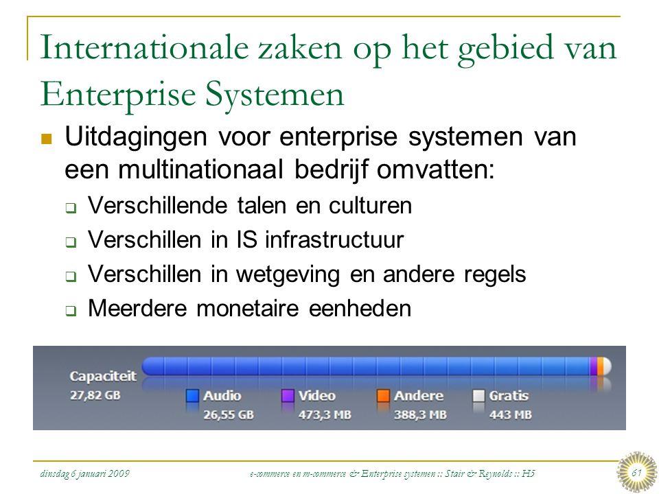 dinsdag 6 januari 2009 e-commerce en m-commerce & Enterprise systemen :: Stair & Reynolds :: H5 61 Internationale zaken op het gebied van Enterprise S