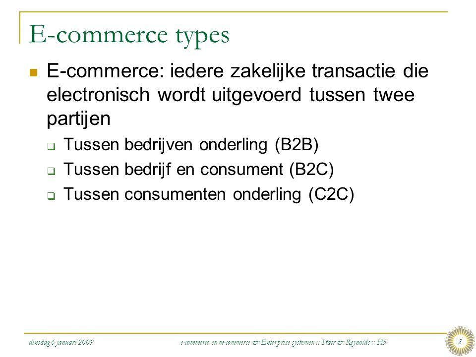 dinsdag 6 januari 2009 e-commerce en m-commerce & Enterprise systemen :: Stair & Reynolds :: H5 9 eGovernment: de digitale overheid  eGovernment: Het gebruik van ICT om (a) het delen van informatie, (b) het versnellen van voormalig papiergebaseerde processen, en (c) het verbeteren van de relatie tussen burger en overheid, te vereenvoudigen  Vormen van eGovernment  Government-to-consumer (G2C)  Government-to-business (G2B)  Government-to-government (G2G)