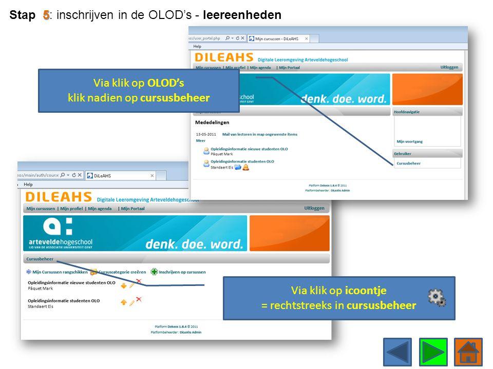 Via klik op icoontje = rechtstreeks in cursusbeheer Via klik op OLOD's klik nadien op cursusbeheer 5 Stap 5: inschrijven in de OLOD's - leereenheden