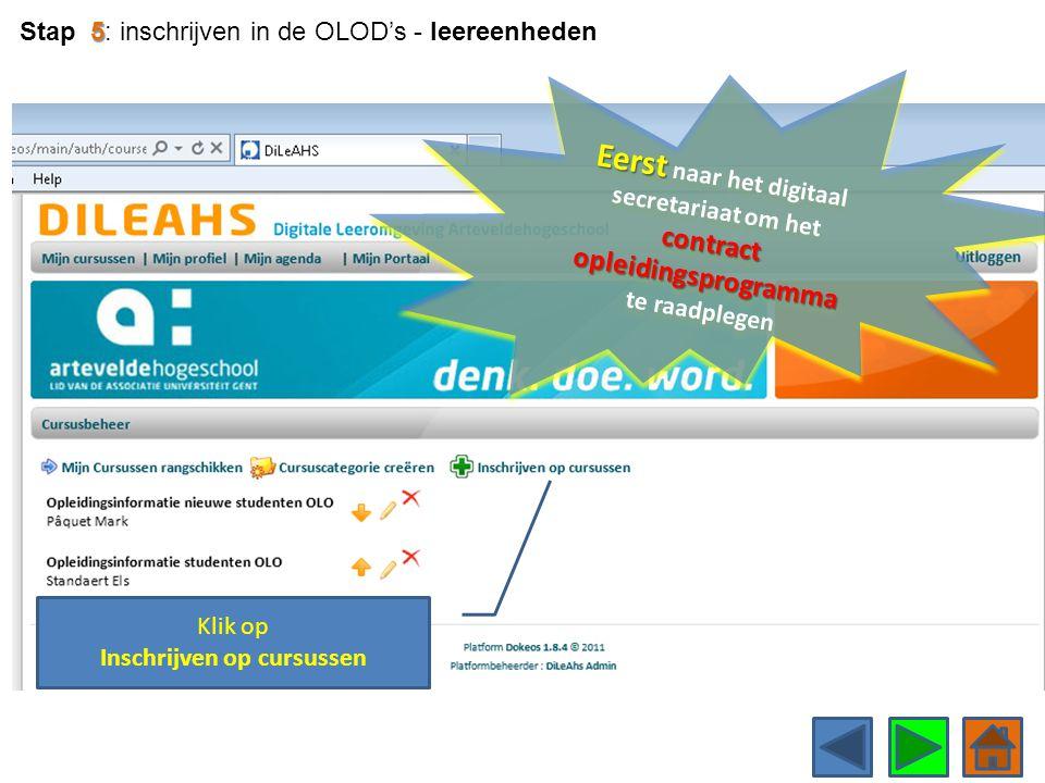 Klik op Inschrijven op cursussen 5 Stap 5: inschrijven in de OLOD's - leereenheden Eerst contract opleidingsprogramma Eerst naar het digitaal secretar