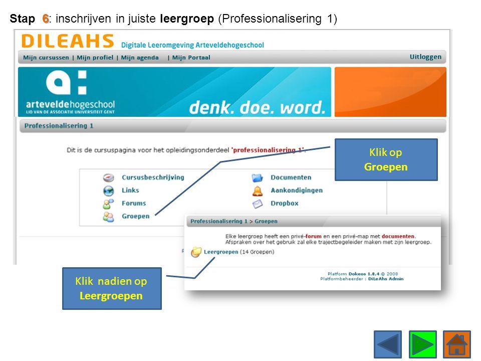 Klik op Groepen 6 Stap 6: inschrijven in juiste leergroep (Professionalisering 1) Klik nadien op Leergroepen