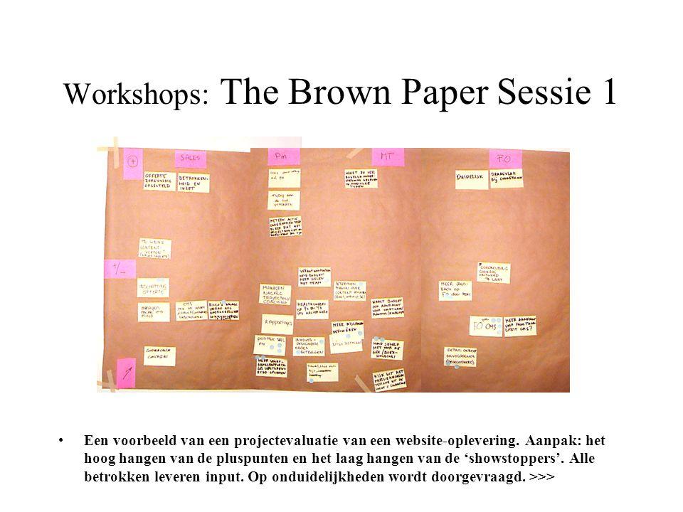 Workshops: The Brown Paper Sessie 1 •Een voorbeeld van een projectevaluatie van een website-oplevering. Aanpak: het hoog hangen van de pluspunten en h