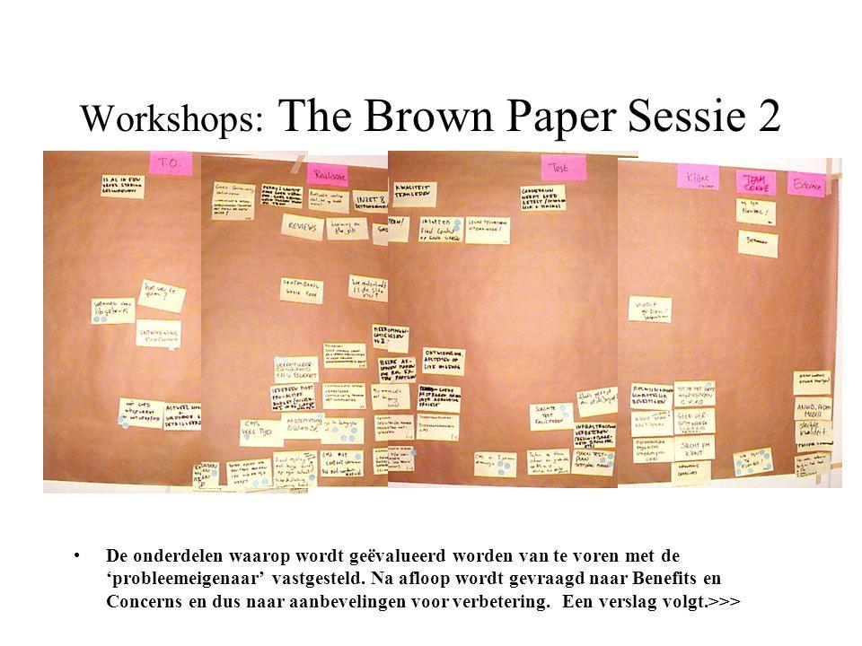 Workshops: The Brown Paper Sessie 2 •De onderdelen waarop wordt geëvalueerd worden van te voren met de 'probleemeigenaar' vastgesteld. Na afloop wordt