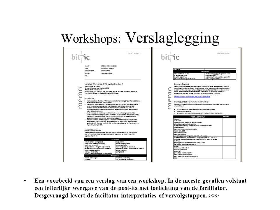 Workshops: Verslaglegging •Een voorbeeld van een verslag van een workshop. In de meeste gevallen volstaat een letterlijke weergave van de post-its met