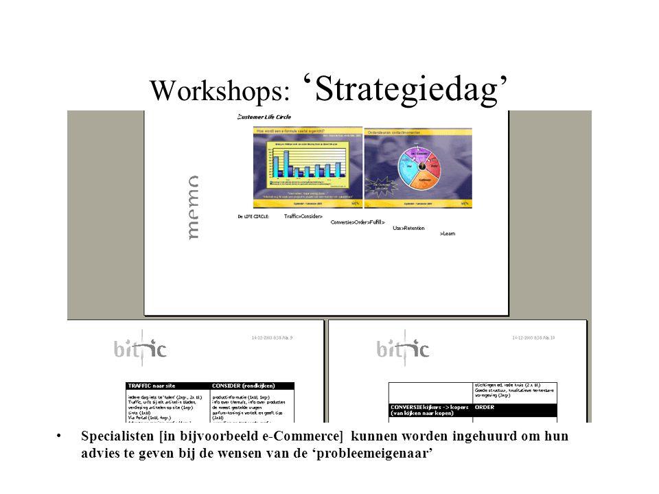 Workshops: ' Strategiedag' •Specialisten [in bijvoorbeeld e-Commerce] kunnen worden ingehuurd om hun advies te geven bij de wensen van de 'probleemeig