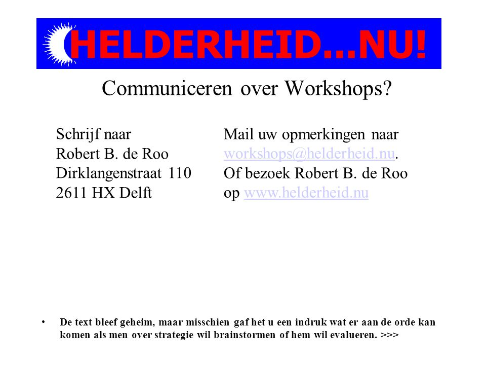 Communiceren over Workshops.