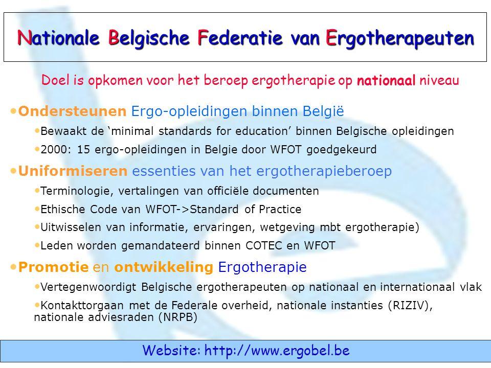 • Ondersteunen Ergo-opleidingen binnen België • Bewaakt de 'minimal standards for education' binnen Belgische opleidingen • 2000: 15 ergo-opleidingen