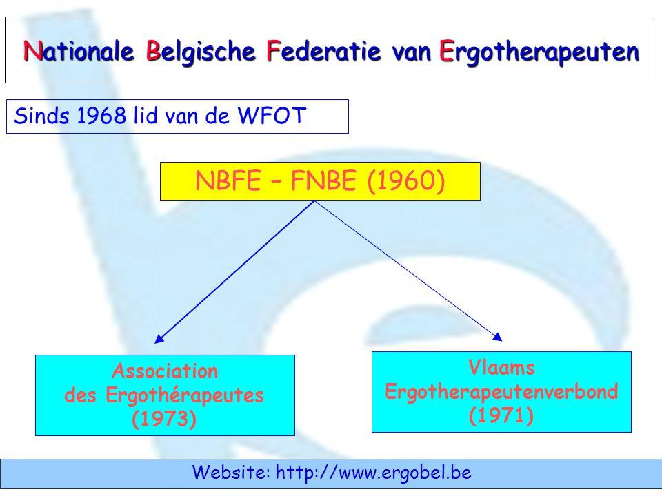 NBFE – FNBE (1960) Vlaams Ergotherapeutenverbond (1971) Association des Ergothérapeutes (1973) Nationale Belgische Federatie van Ergotherapeuten Websi