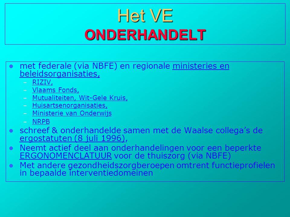  met federale (via NBFE) en regionale ministeries en beleidsorganisaties, – RIZIV, – Vlaams Fonds, – Mutualiteiten, Wit-Gele Kruis, – Huisartsenorgan