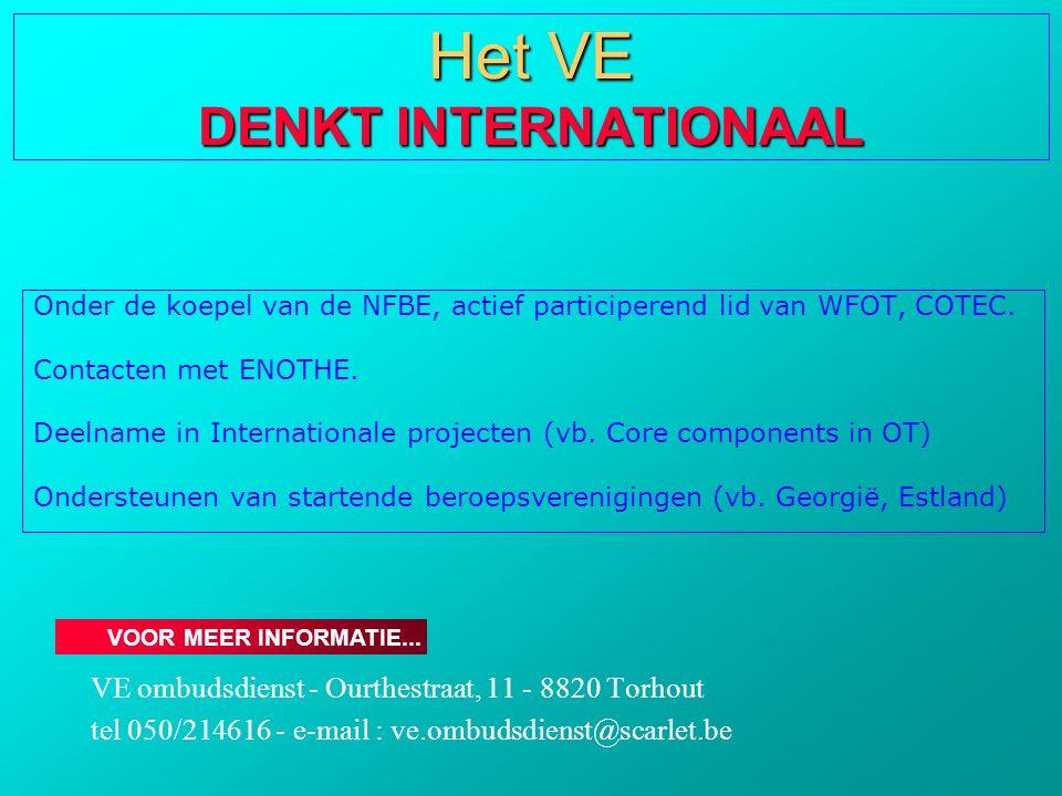 Onder de koepel van de NFBE, actief participerend lid van WFOT, COTEC. Contacten met ENOTHE. Deelname in Internationale projecten (vb. Core components