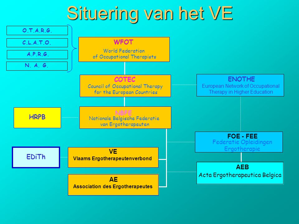 Situering van het VE COTEC Council of Occupational Therapy for the European Countries ENOTHE European Network of Occupational Therapy in Higher Education FOE - FEE Federatie Opleidingen Ergotherapie AEB VE Vlaams Ergotherapeutenverbond AE Association des Ergotherapeutes WFOT World Federation of Occupational Therapists NBFE Nationale Belgische Federatie van Ergotherapeuten EDiTh Acta Ergotherapeutica Belgica HRPB O.T.A.R.G.
