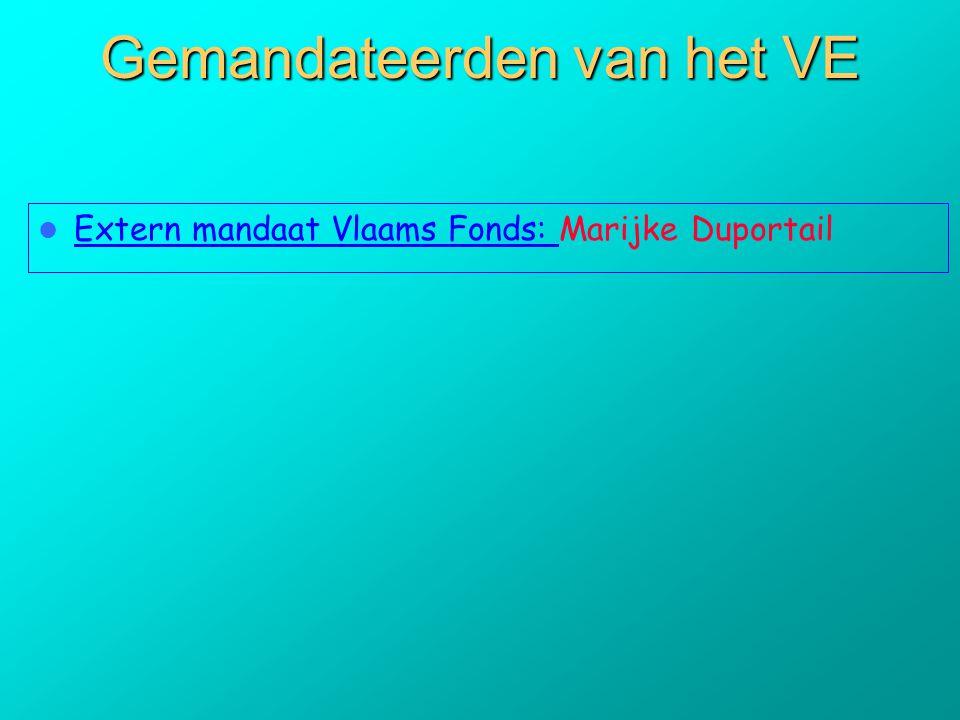 Gemandateerden van het VE  Extern mandaat Vlaams Fonds: Marijke Duportail