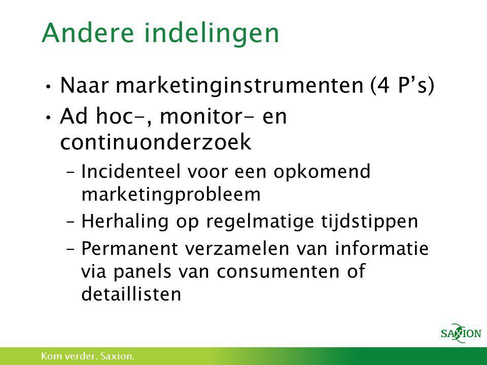 Kom verder. Saxion. Andere indelingen •Naar marketinginstrumenten (4 P's) •Ad hoc-, monitor- en continuonderzoek –Incidenteel voor een opkomend market