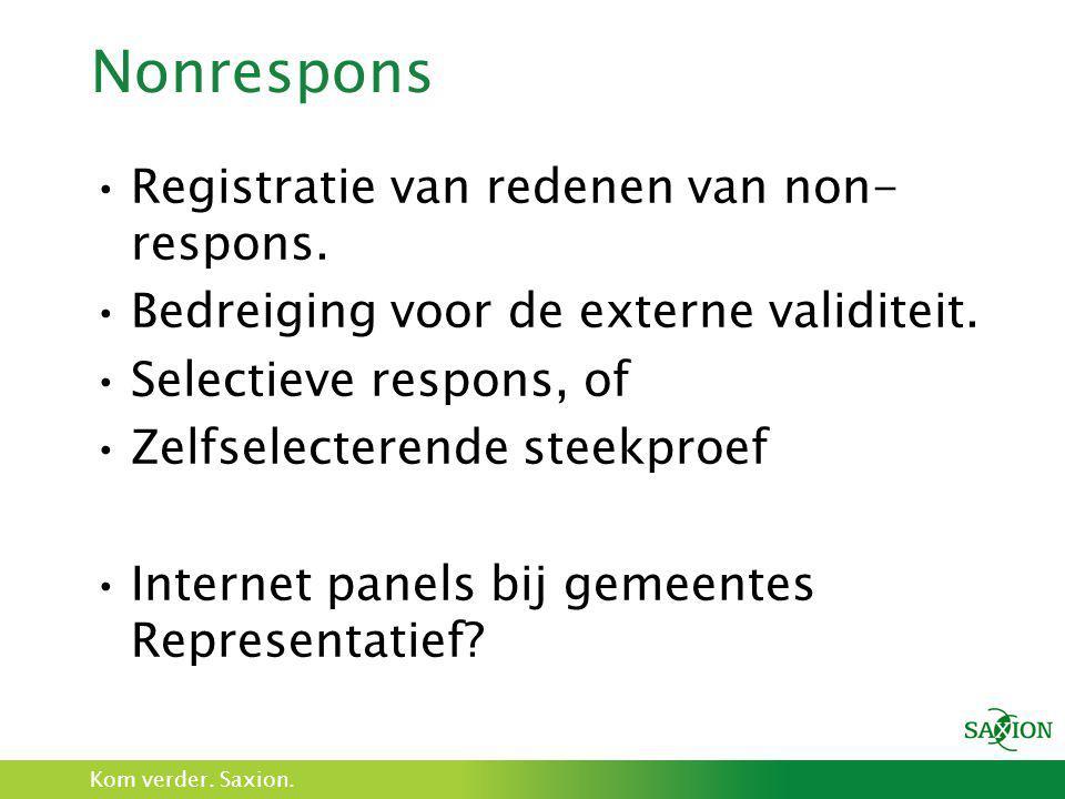 Kom verder. Saxion. Nonrespons •Registratie van redenen van non- respons. •Bedreiging voor de externe validiteit. •Selectieve respons, of •Zelfselecte