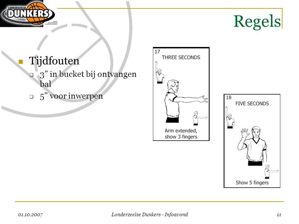 """01.10.2007 Londerzeelse Dunkers - Infoavond 11 Regels  Tijdfouten  3"""" in bucket bij ontvangen bal  5"""" voor inwerpen"""
