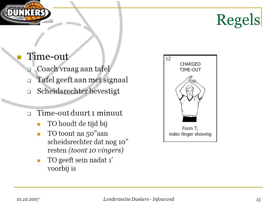 01.10.2007 Londerzeelse Dunkers - Infoavond 15 Regels  Time-out  Coach vraag aan tafel  Tafel geeft aan met signaal  Scheidsrechter bevestigt  Ti