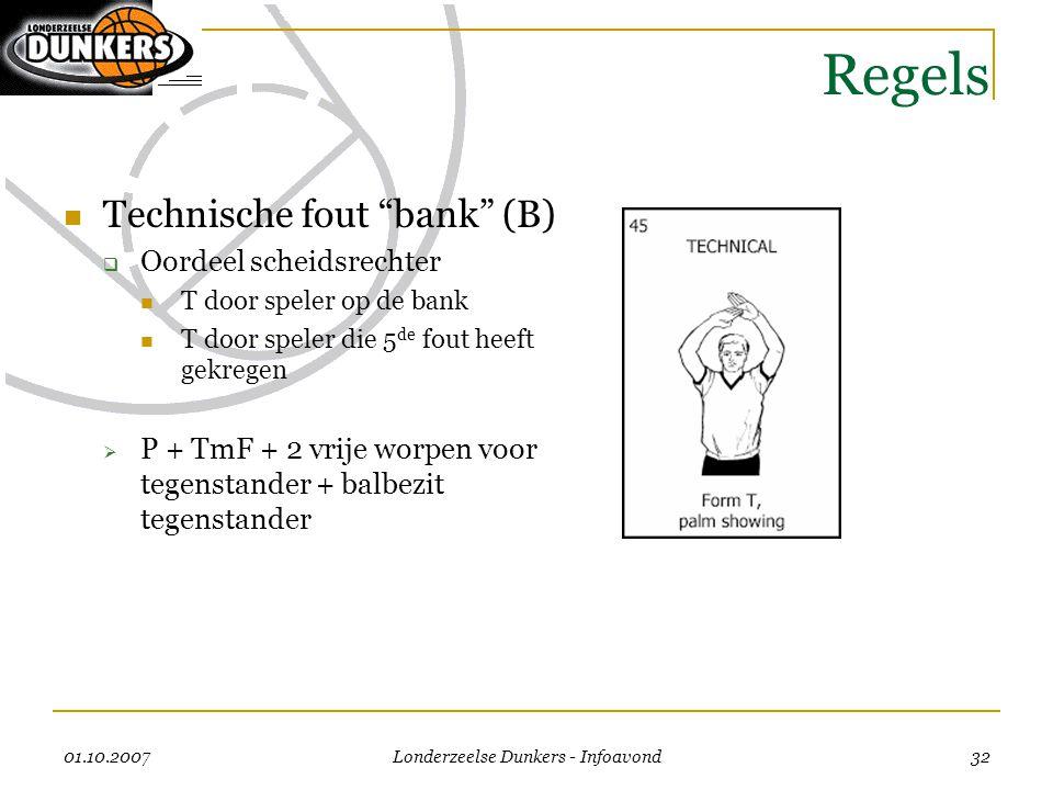 """01.10.2007 Londerzeelse Dunkers - Infoavond 32 Regels  Technische fout """"bank"""" (B)  Oordeel scheidsrechter  T door speler op de bank  T door speler"""