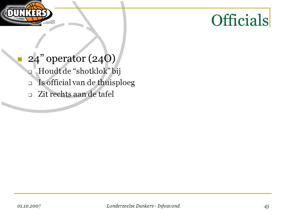 """01.10.2007 Londerzeelse Dunkers - Infoavond 45 Officials  24"""" operator (24O)  Houdt de """"shotklok"""" bij  Is official van de thuisploeg  Zit rechts a"""