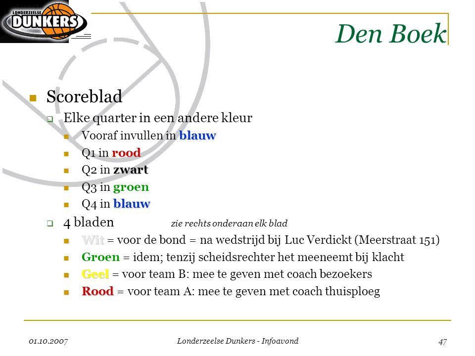 01.10.2007 Londerzeelse Dunkers - Infoavond 47 Den Boek  Scoreblad  Elke quarter in een andere kleur blauw  Vooraf invullen in blauw rood  Q1 in r