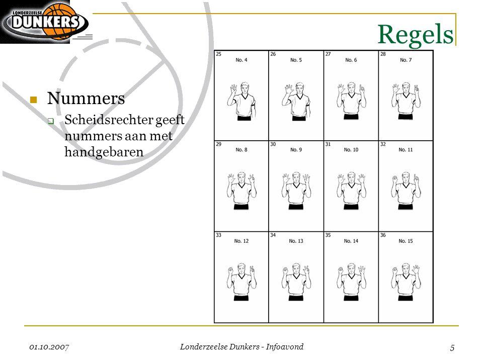 01.10.2007 Londerzeelse Dunkers - Infoavond 5 Regels  Nummers  Scheidsrechter geeft nummers aan met handgebaren