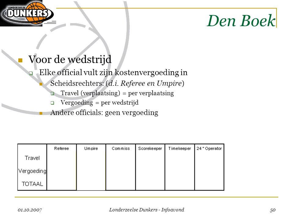 01.10.2007 Londerzeelse Dunkers - Infoavond 50 Den Boek  Voor de wedstrijd  Elke official vult zijn kostenvergoeding in  Scheidsrechters: (d.i. Ref
