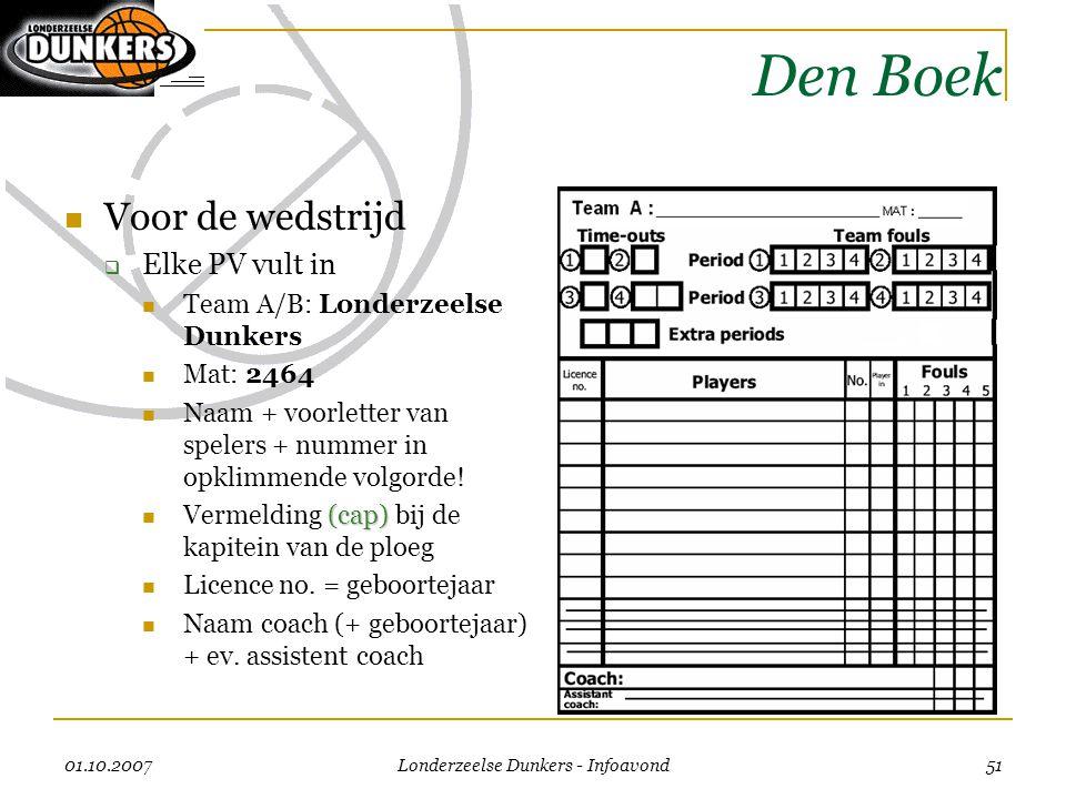 01.10.2007 Londerzeelse Dunkers - Infoavond 51 Den Boek  Voor de wedstrijd  Elke PV vult in  Team A/B: Londerzeelse Dunkers  Mat: 2464  Naam + vo