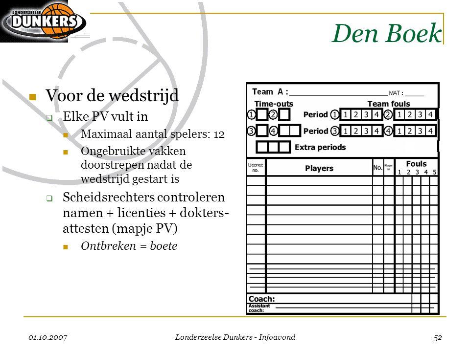 01.10.2007 Londerzeelse Dunkers - Infoavond 52 Den Boek  Voor de wedstrijd  Elke PV vult in  Maximaal aantal spelers: 12  Ongebruikte vakken doors