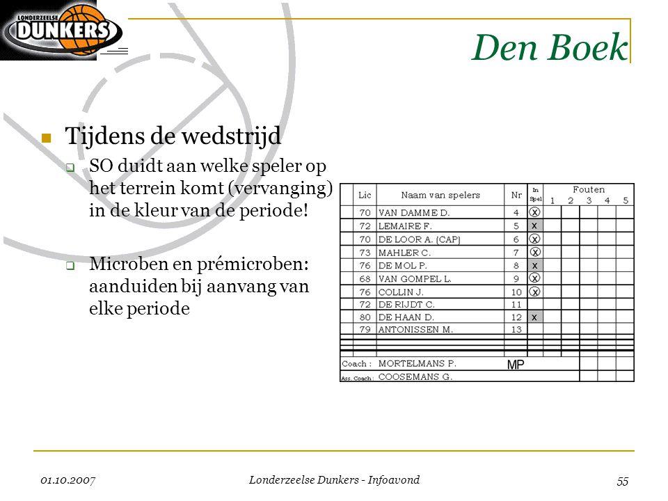 01.10.2007 Londerzeelse Dunkers - Infoavond 55 Den Boek  Tijdens de wedstrijd  SO duidt aan welke speler op het terrein komt (vervanging) in de kleu