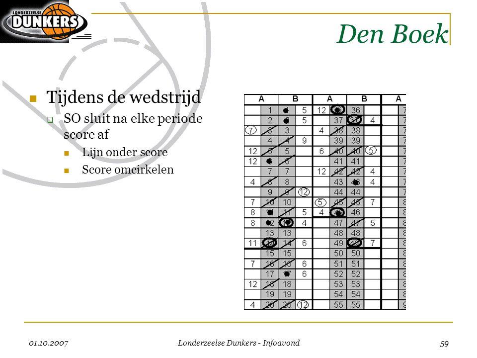 01.10.2007 Londerzeelse Dunkers - Infoavond 59 Den Boek  Tijdens de wedstrijd  SO sluit na elke periode score af  Lijn onder score  Score omcirkel