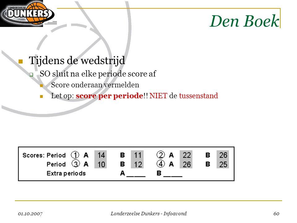 01.10.2007 Londerzeelse Dunkers - Infoavond 60 Den Boek  Tijdens de wedstrijd  SO sluit na elke periode score af  Score onderaan vermelden score pe