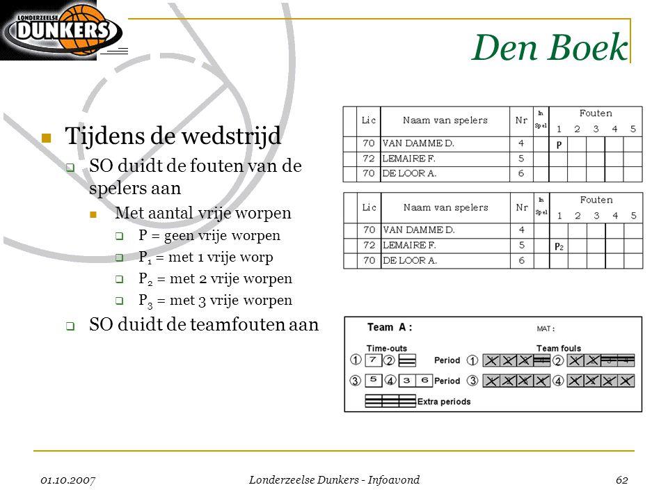 01.10.2007 Londerzeelse Dunkers - Infoavond 62 Den Boek  Tijdens de wedstrijd  SO duidt de fouten van de spelers aan  Met aantal vrije worpen  P =