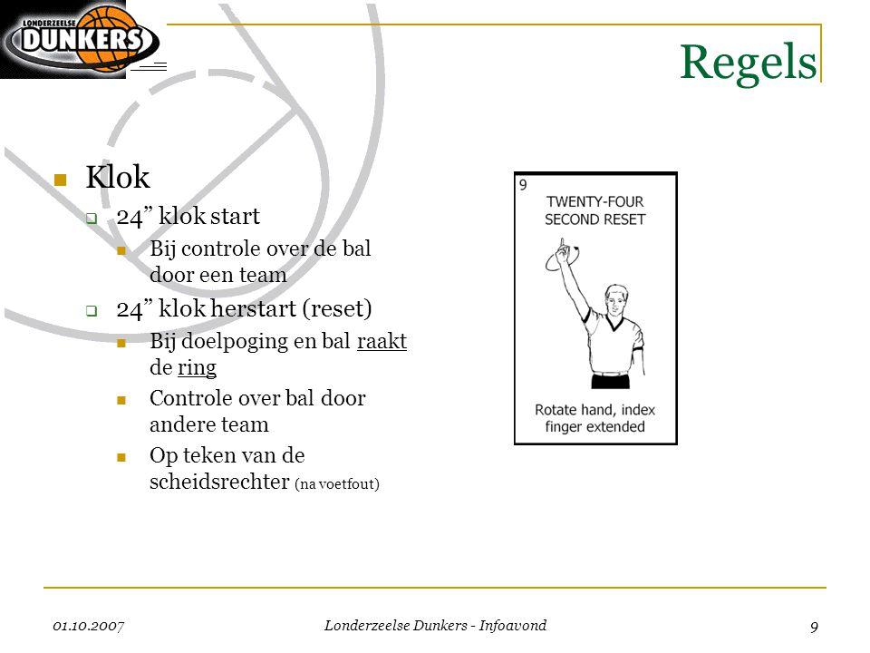 """01.10.2007 Londerzeelse Dunkers - Infoavond 9 Regels  Klok  24"""" klok start  Bij controle over de bal door een team  24"""" klok herstart (reset)  Bi"""