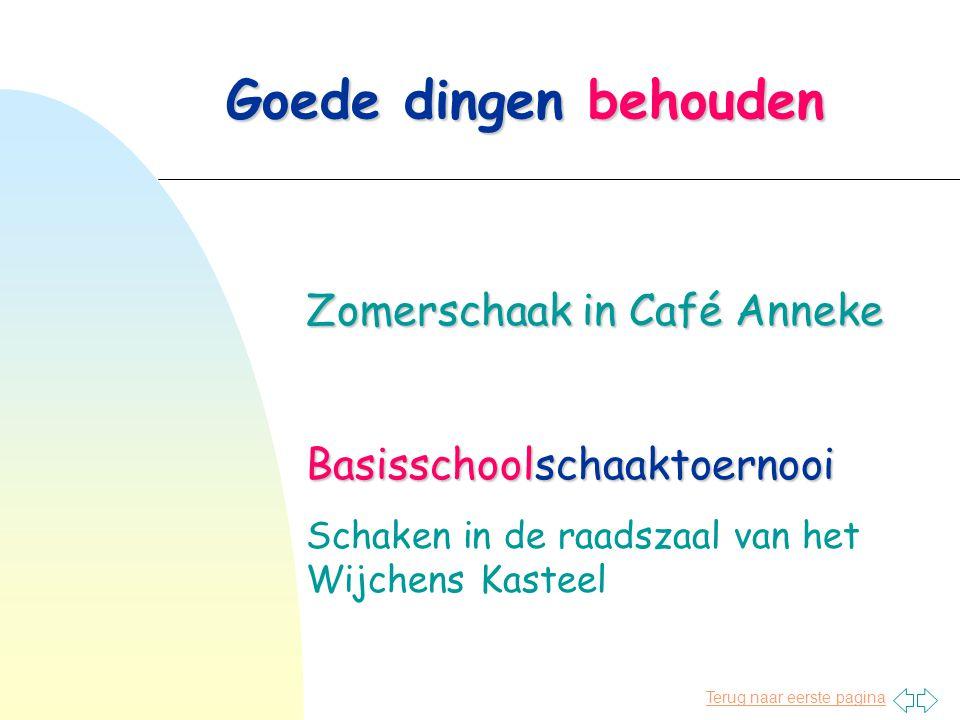 Goede dingen behouden Zomerschaak in Café Anneke Basisschoolschaaktoernooi Schaken in de raadszaal van het Wijchens Kasteel