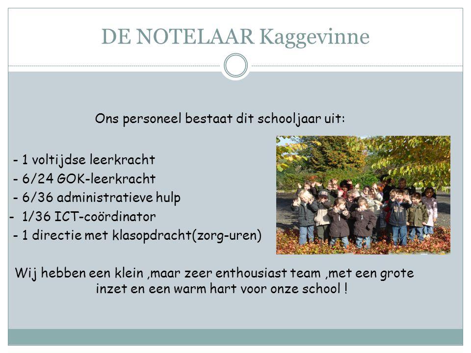 Ons personeel bestaat dit schooljaar uit: - 1 voltijdse leerkracht - 6/24 GOK-leerkracht - 6/36 administratieve hulp - 1/36 ICT-coördinator - 1 direct