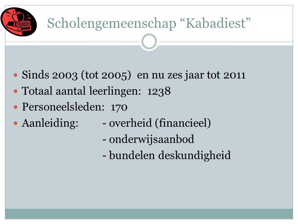 Scholengemeenschap Kabadiest  Sinds 2003 (tot 2005) en nu zes jaar tot 2011  Totaal aantal leerlingen: 1238  Personeelsleden: 170  Aanleiding: - overheid (financieel) - onderwijsaanbod - bundelen deskundigheid
