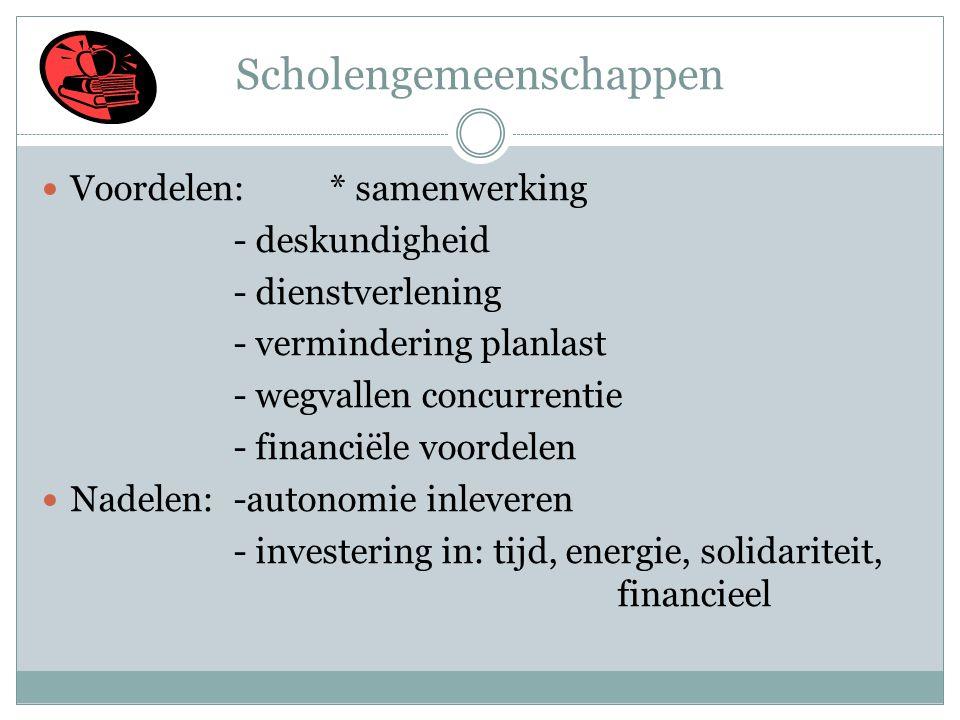 Scholengemeenschappen  Voordelen: * samenwerking - deskundigheid - dienstverlening - vermindering planlast - wegvallen concurrentie - financiële voordelen  Nadelen: -autonomie inleveren - investering in: tijd, energie, solidariteit, financieel 