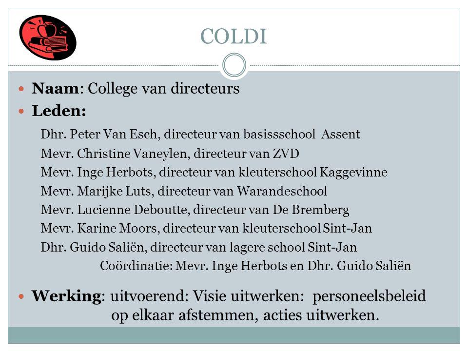 COLDI  Naam: College van directeurs  Leden: Dhr. Peter Van Esch, directeur van basissschool Assent Mevr. Christine Vaneylen, directeur van ZVD Mevr.